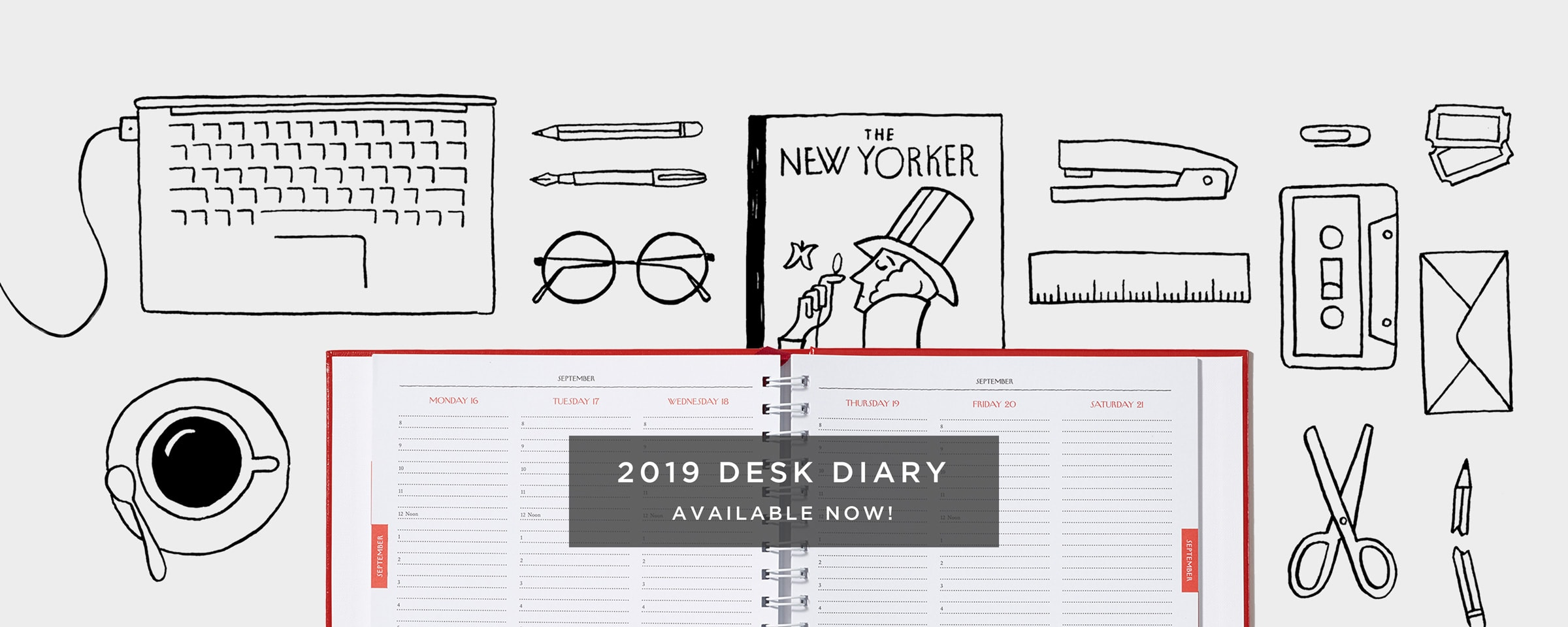 New Yorker Desk Diary Day Planner 2019